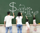 Family drawing money house clothes and video game symbol on the — Stok fotoğraf