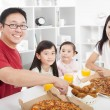 Happy asian Family enjoy their dinner in the home — Stock Photo