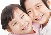 Close up of happy little girls — 图库照片