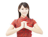 Happy chinese new year. asian woman with Congratulation gesture — Stock Photo