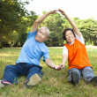 Happy Senior couple do physical training in the park — Stock Photo #18097087