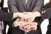 Business team with hand together for teamwork concept — Stock Photo
