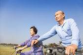 Happy elderly seniors couple biking — Stock Photo