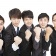 Stock Photo: Happy asian business team with success gesture