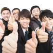 Success business team with thumbs up  — Stock Photo