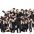 Many photographers holding camera pointing to you — 图库照片