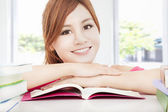 Happy student asian girl reading book — Stockfoto