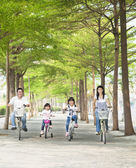 Happy family riding bicycle in the park — Stock Photo
