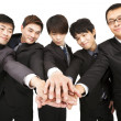 Asian business team with hand together — Stock Photo