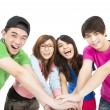 Happy young group with hand together — Stock Photo