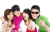 Happy young group laughing — Stock Photo
