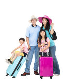 Happy family with suitcase take summer vacation — Stock Photo