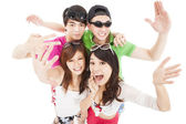 Happy asian young group enjoy summer party — Stock Photo