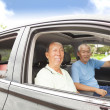Happy seniors enjoying road trip and travel — Stock Photo