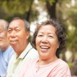 Happy asian seniors in the park — Stock Photo