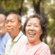 Happy asian seniors in the park — Stockfoto
