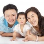 Happy family isolated on white — Stock Photo