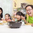Happy asian Family Eating noodles — Stock Photo