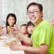 Happy  Family  Eating noodles at home — Stok fotoğraf