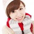 Smiling asian girl with winter wear — Stock Photo #32632199
