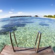 Water villa and ocean view. maldives — Stock Photo