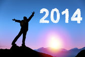 Happy new year 2014.happy young man standing on the top of mount — Stock Photo