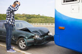 Stressed Driver looking at car After Traffic Accident on the roa — Stock Photo