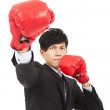 Business man ready to fight with boxing gloves — Stock Photo #37408865