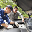 Two Mechanics fixing the car on the road — Foto Stock