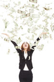 Happy businesswoman try to catch the money — Foto de Stock