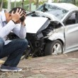 Upset driver After Traffic Accident — Stock Photo