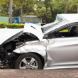 Car accident and wrecked car on the road — Stock Photo