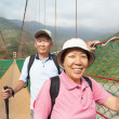 Happy asian senior couple walking on the bridge in the nature pa — Stock Photo