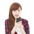Surprised young woman watching the smart phone — Stock Photo #37961405