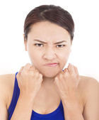 Pretty girl fist angrily and facial expression — Stock Photo