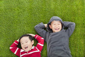 Two brothers lying on the meadow in the park — Foto Stock