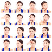 Asian young woman facial expressions — Stock Photo