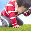 Stock Photo: Boy exploring nature with magnifying glass