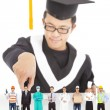 Stock Photo: Graduation student choose his career in future