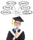 Confusing graduation man thinking  about career plan — Stock Photo