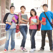 Stock Photo: Group student holding books and standing at school