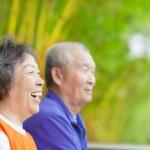 Happy asian seniors in the park — Stock Photo #42451757