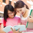Stock Photo: Two students discuss homework  happily