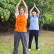 Senior couple doing exercise in the park. — Stock Photo