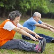 Happy elderly seniors couple working out in park — Stock Photo