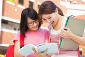 Two students discuss homework  happily — Stock Photo