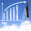 Business man writing growth bar chart with sky background — Φωτογραφία Αρχείου