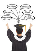 graduation man  select his future road — Stock Photo