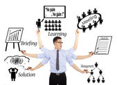Businessman busy daily schedules or multitaskings — Foto Stock