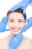 Beautiful woman make a cosmetic operation — Stock Photo